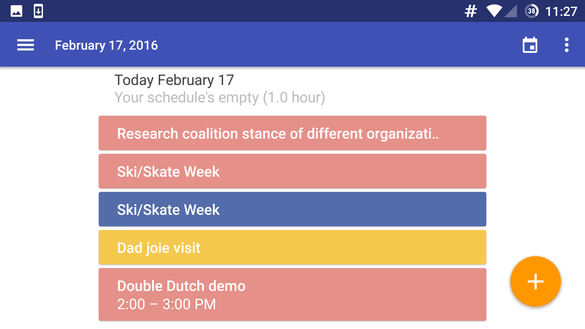 Quick view of Today's Calendar in your day at a glance