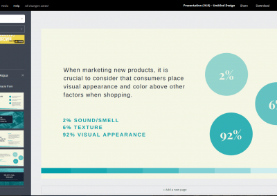 This is an example of where you work in Canva. You can resize, type, drag photos, or add different elements.